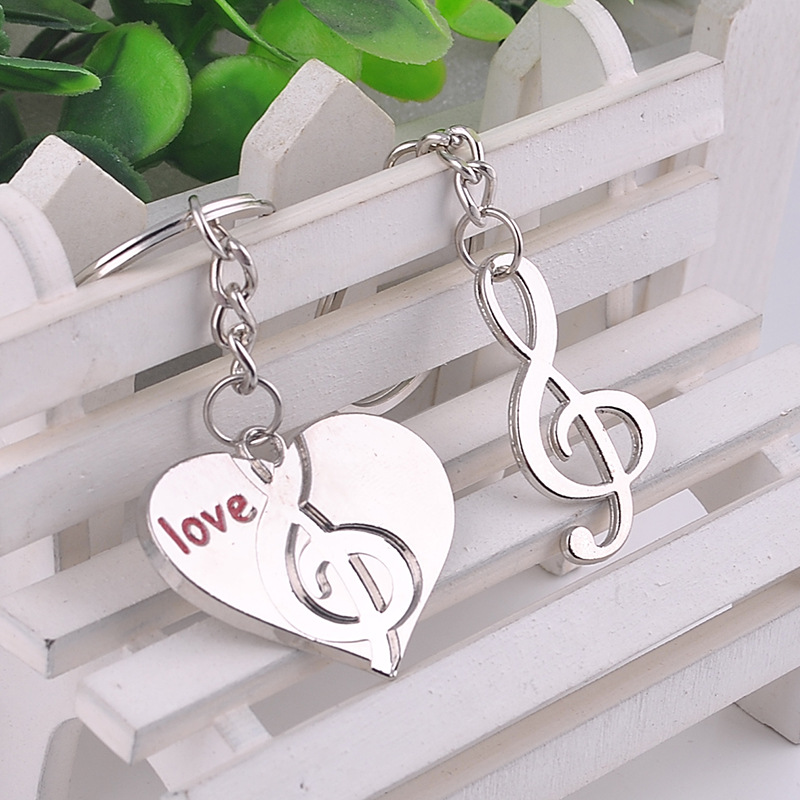 2pcs Music Elements Gift Wholesale Custom Heart Music Symbols Couple Key Chain Pendant Lovely Keyring Exquisite Keys Ornaments