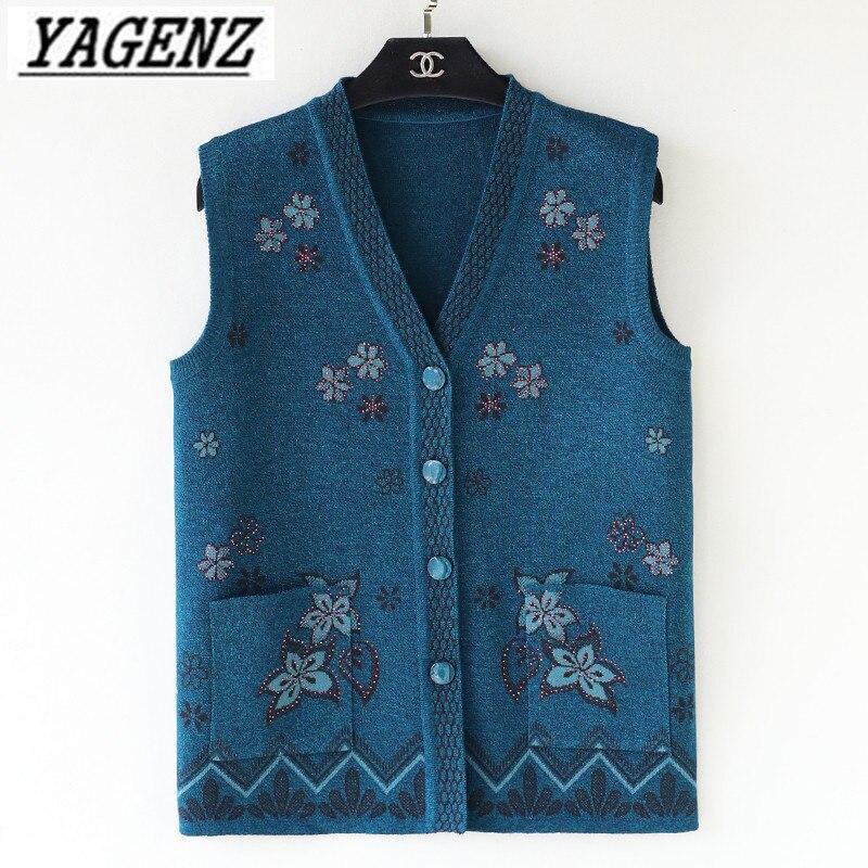 13da6fdf27 Grandma Knitwear Sweater Vest Jacket Plus Size 5XL Spring Autumn Sleeveless  Women's Knit Cardigan Coat Loose