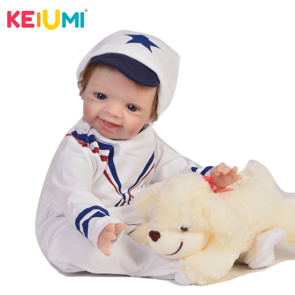 KEIUMI Handsome 22 Inch Newborn Baby Doll Cloth Body Realistic Lovely Baby Doll Toy For Children's Day Kid Christmas Xmas Gifts keiumi real 22 inch newborn baby doll cloth body realistic lovely baby doll toy for children s day kid christmas xmas gifts