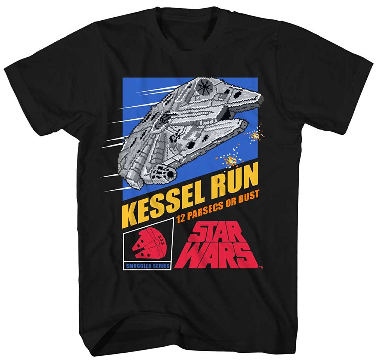 Star Wars Millennium Falcon Han Solo Chewbacca Chewie Kessel Run Video Game Funny Humor Pun Mens Adult Graphic Tee T-shirt