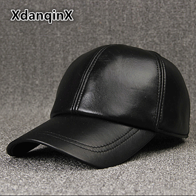 XdanqinX 2018 New Style Winter Men's Hat Thicken Warm Genuine Leather   Baseball     Caps   Snapback Tongue   Cap   Adjustable Size Dad Hats