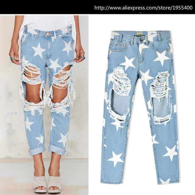 96ad504b68 Hole Hollow Out Ripped Jeans Women Distressed Scratched Graffiti Blue Jeans  Femme Fashion Loose Boyfriend Hip Hop Denim Mujer