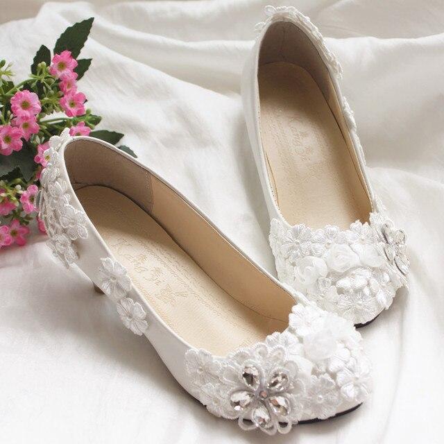 Все ручной работы белый свадебные туфли формальный туфли кружева свадебное платье принцессы кристалл-лодочки женские туфли свадебные туфли