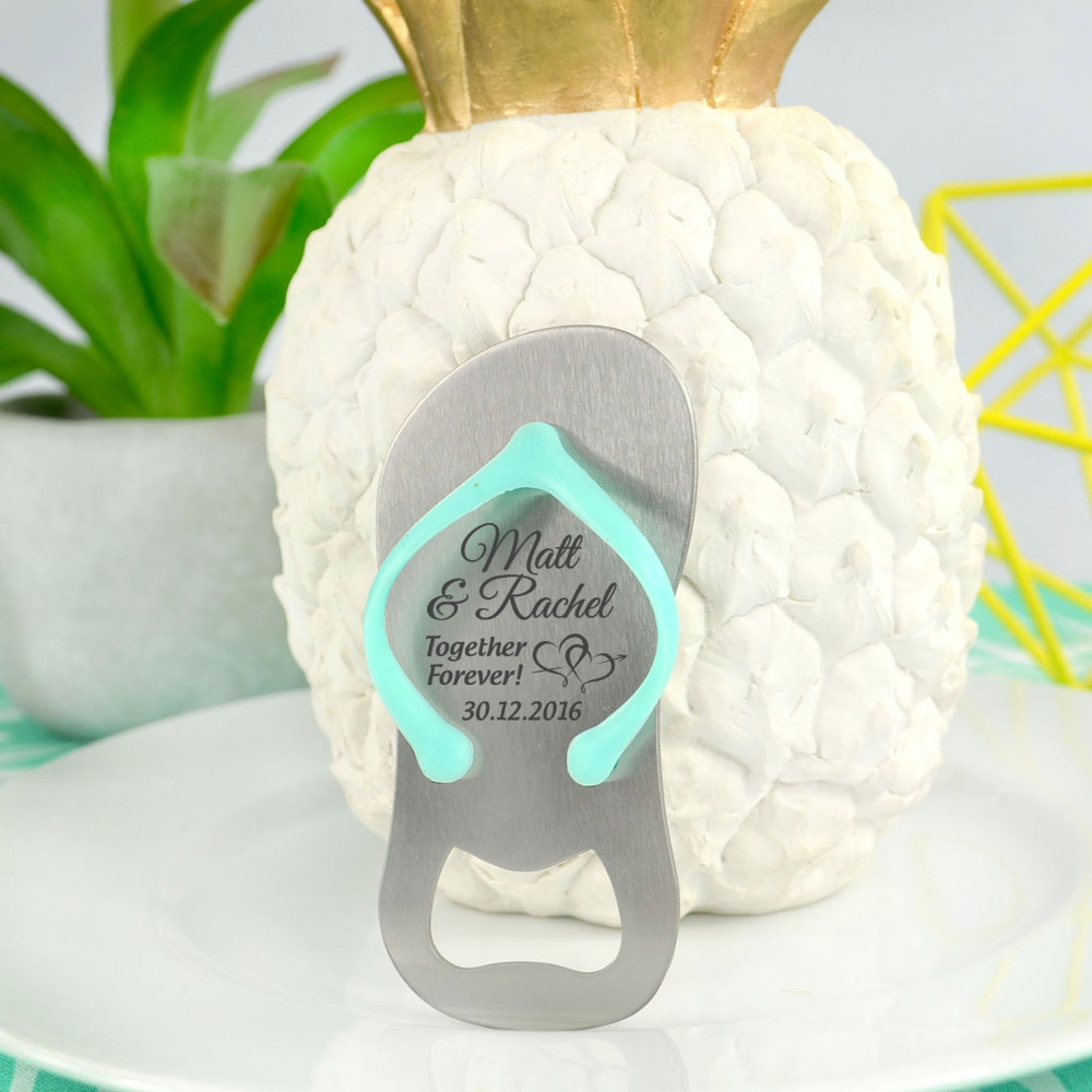 10x Personalized Engraved Mini Flip Flop Shaped Bottle Openers ...