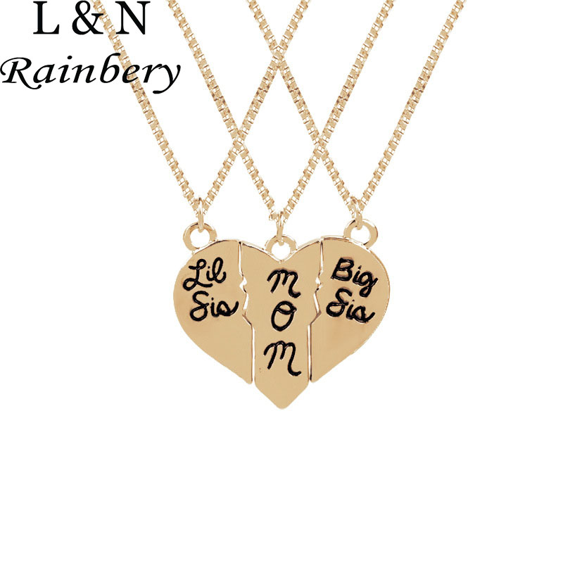 Rainbery Matching Little Sister Middle Sister Big Sister Necklace 3 Pcs Set Gift For Sis Family Gift Tone Heart Pendants Jewelry