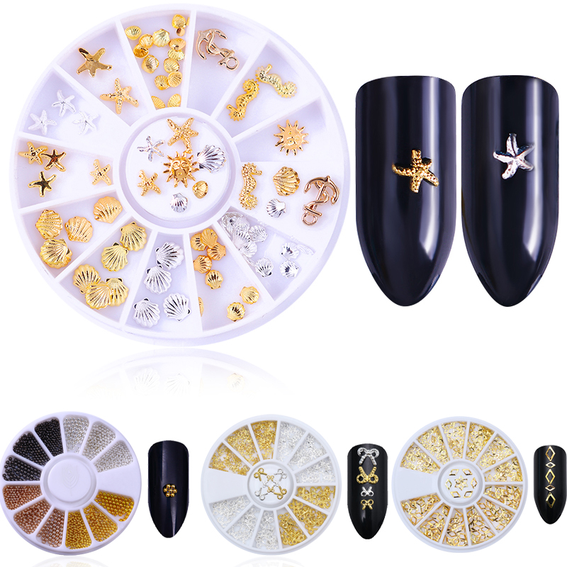 Nail Studs Rivet Gold Silver Rose Red Mini Bowknot Beads Hollow Frame Multi-size DIY Manicure 3D Nail Art Decoration in Wheel rose gold silver black nail beads caviar studs multi size diy 3d nail art uv gel lacquer decoration in wheel manicure accessorie