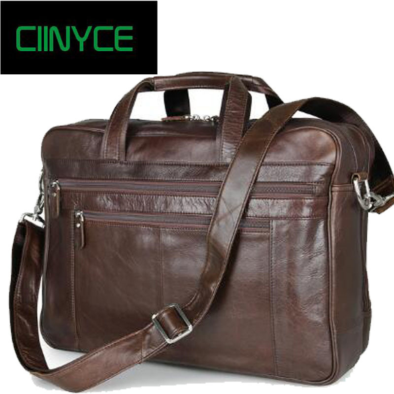 Quality Brand Men Vintage Genuine Cow Leather Coffe Business Office Totes 17inch Laptop Briefcase Retro Cowhide Lawyer Handbag