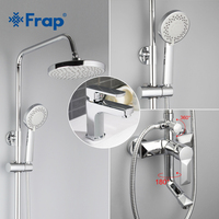 Frap 1 Set Brass Body Bathroom Basin Faucet Shower Faucet Vessel Sink Water Tap Cold And
