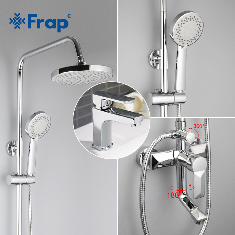 Frap 1 set Brass Body Bathroom Basin Faucet Shower Faucet Vessel Sink Water Tap cold and hot Mixer Chrome Finish F2418 F1064