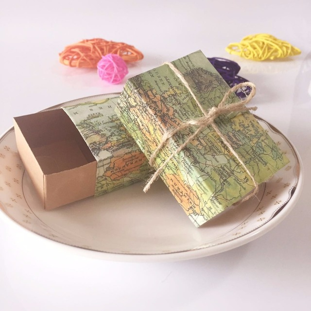 World Map Party Supplies.50pcs Diy Vintage World Map Theme Candy Box Wedding Party Favors