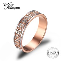 Feelcolor Classic Russian Band Wedding Ring For Women 925 Sterling Silver 18K Yellow Gold Plated Vintage