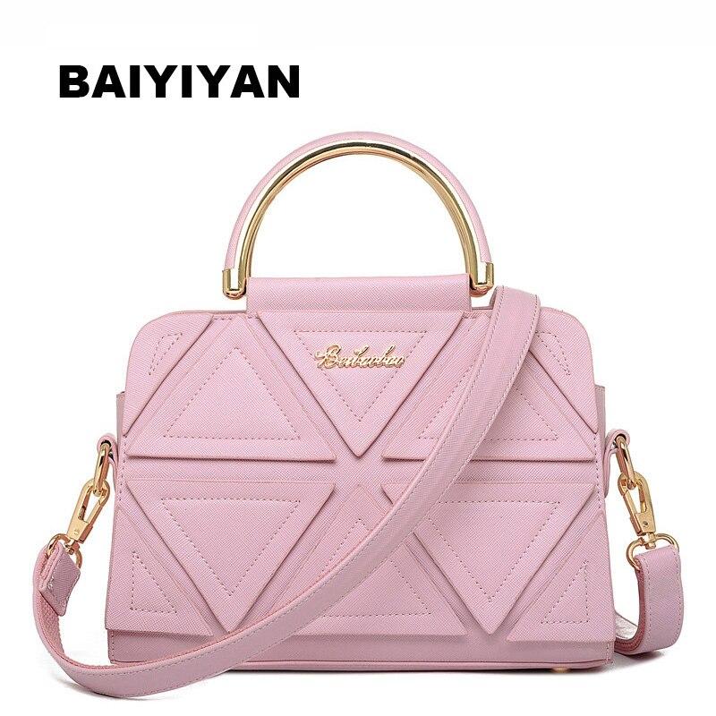 Nueva moda de alta calidad PU cuero mujeres bolso triángulo Patchwork clásico bolso señoras bolsa de mensajero