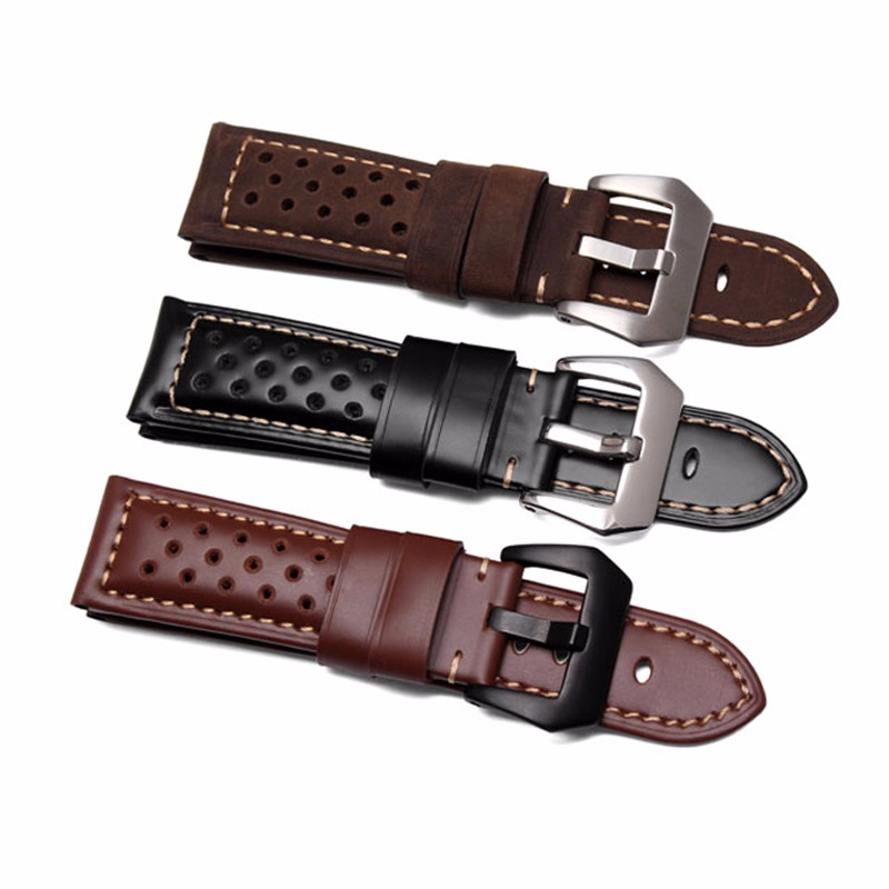 22 24 26mm Black Brown Real Leather Handmade Thick VINTAGE Wrist Watch Band Band Strap Belt Brushed Buckle For Panerai Luminor zlimsn men s watch band for panerai 20 22 24 26mm black brown watchband stainless steel buckle wrist belt genuine leather