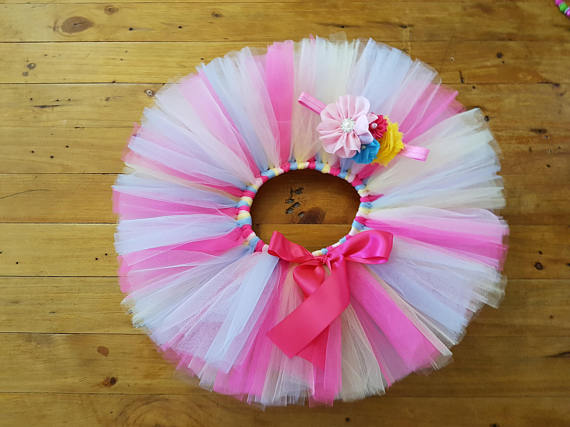 Baby Girls Pastel Tutu Skirts Kids Ballet Dance Pettiskirts Tutus with Ribbon Bow and Flower Headband Set Children Party Skirts