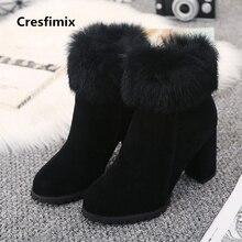 Cresfimix botas femininas mulheres moda 2018 outono & inverno preto botas de salto alto quentes senhora cinza casuais faxu fur botas c2662