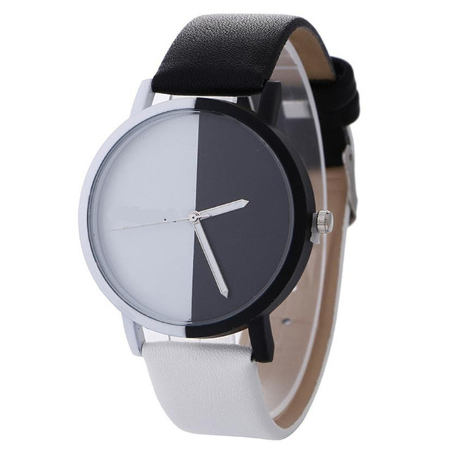2018 New Women Watches Fashion Casual Analog Quartz Black White Patchwork Women