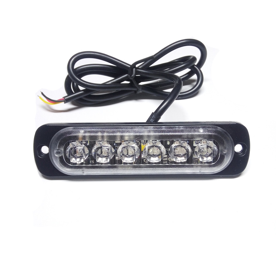1PCS 18W 6LED White Amber Car Styling Lamp Flash Flashing Auto Strobe Emergency Warning Light Bar LED Parking Lights New 1x solar energy led car auto sticker flash warning light taillights magnetic white shark gills fog lamp safety car styling