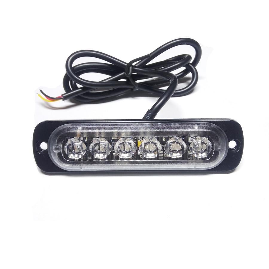 1PCS 18W 6LED White Amber Car Styling Lamp Flash Flashing Auto Strobe Emergency Warning Light Bar LED Parking Lights New