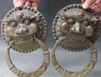 """Huij 005337 8 """"Chinese Fengshui Bronze Foo Fu Dog Guardion Löwenkopf Türklopfer Statue Pair (A0314)-in Statuen & Skulpturen aus Heim und Garten bei"""