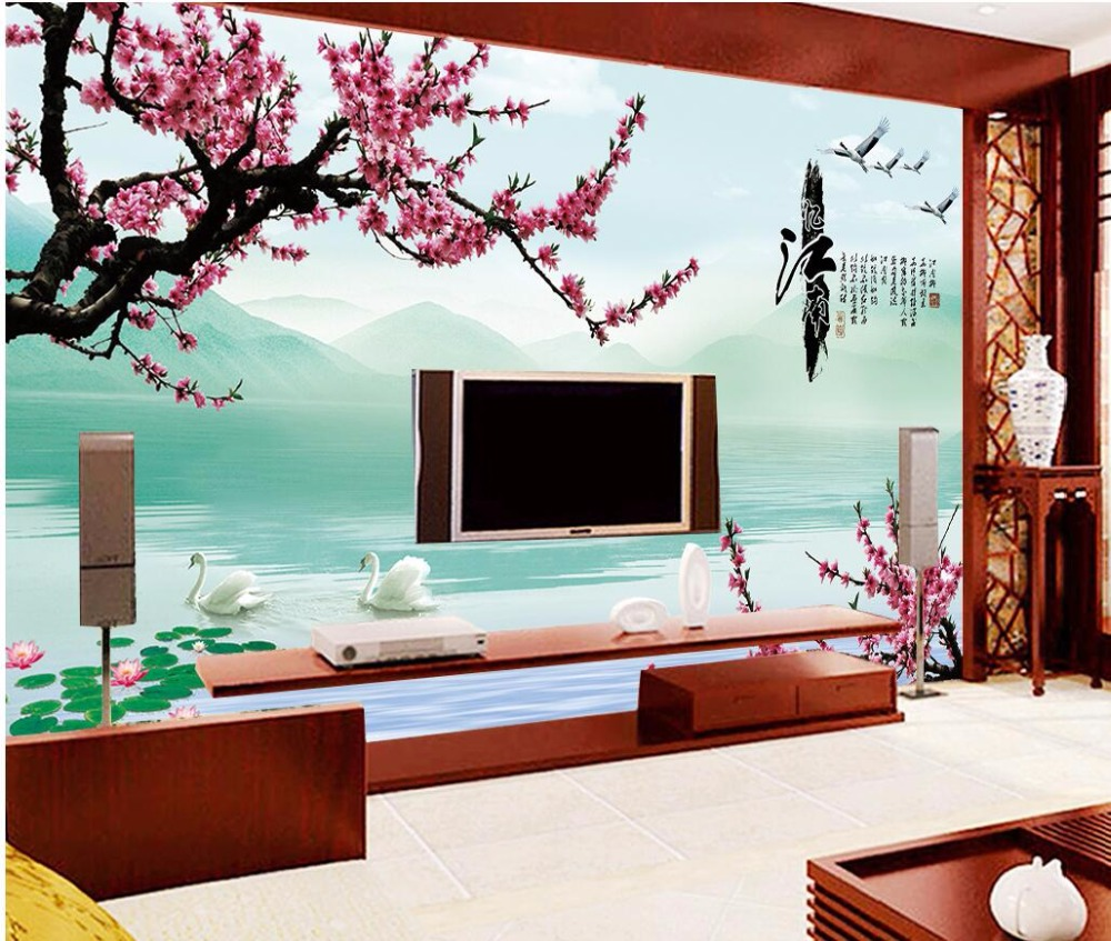 Custom mural 3d wallpaper swan lake the plum blossom photo for Decorative mural painting