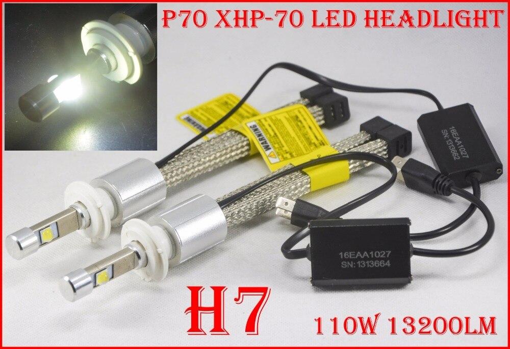1 компл. H4 H7 H8 H9 H11 9005 9006 9012 H13 9004 9007 <font><b>P70</b></font> светодиодные фары 110 Вт 13200LM без вентилятора XHP-70 чипов 5 К 6 К авто лампы накаливания