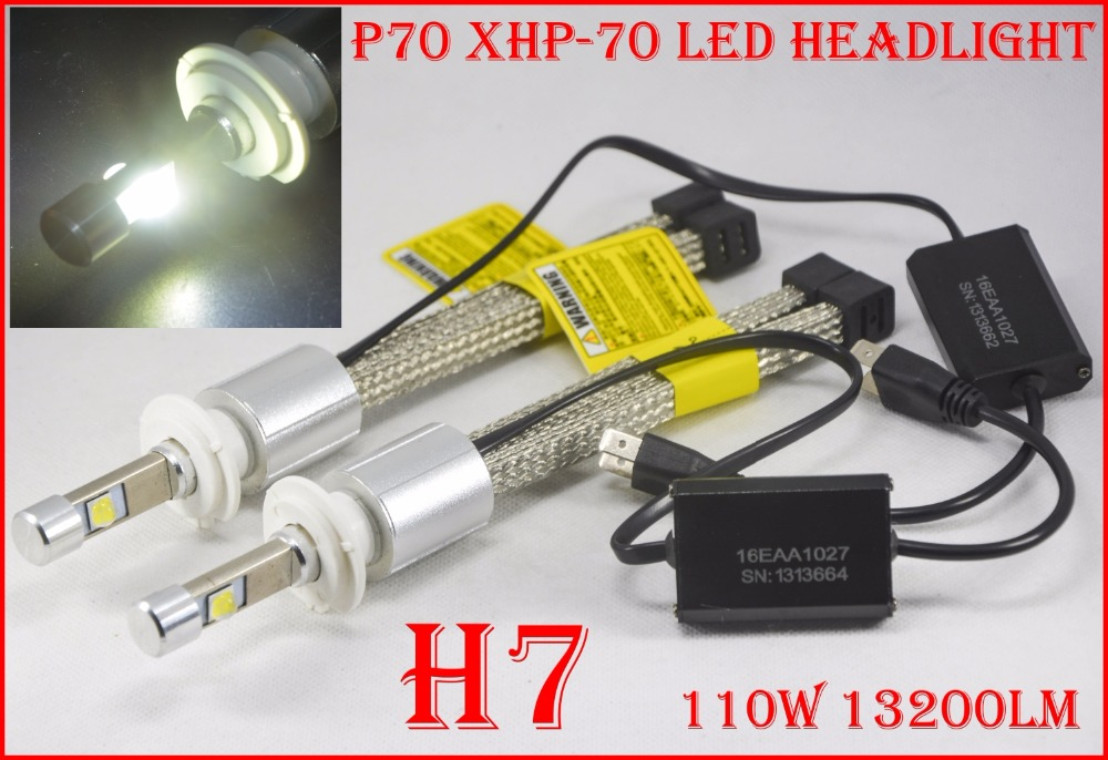 1 Set H4 H7 H8 H9 H11 9005 9006 9012 H13 9004 9007 P70 LED Headlight 110W 13200LM Fanless XHP-70 Chips 5K 6K Auto Car Lamp Bulbs 2017 newest 9012 fanless led headlight conversion kit 6500k 6600lm c ree xhp 70 50w bulb h4 h7 h11 9005 9006 h13 9007 9004