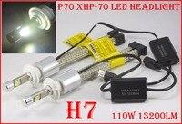 1 Set H4 H7 H8 H9 H11 9005 9006 9012 H13 9004 9007 P70 LED Headlight 110W 13200LM Fanless XHP 70 Chips 5K 6K Auto Car Lamp Bulbs