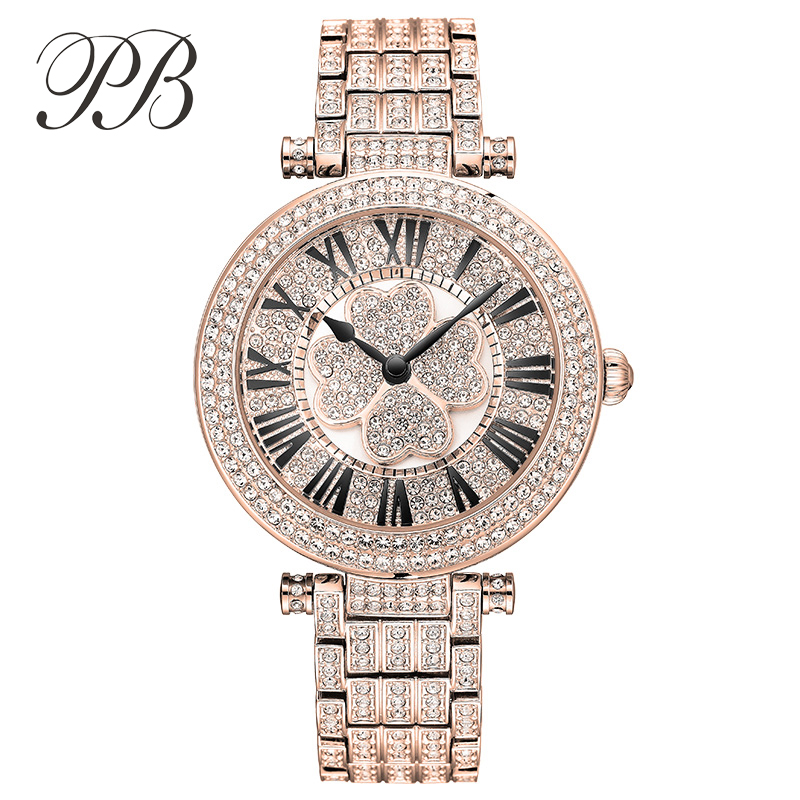 Top Brand Princess Butterfly Women Brand Austrian Crystal Lucky Clover Wristwatch Lady Luxury Stainless Steel Band Watch hot sale famous bp brand princess butterfly lady lucky clover watch element crystal automatic mechanical wrist watch