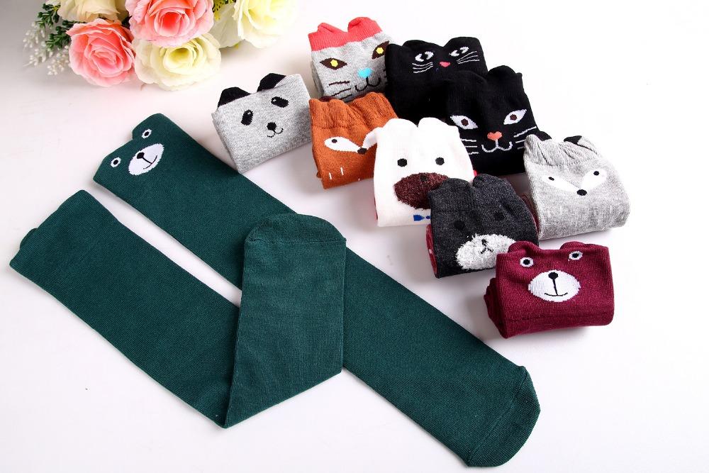 2017 Nowa Wiosna Jesień Dzieci Skarpetki Bawełniane Drukowanie 3D Kot Moda Cartoon Niedźwiedź Taniec Skarpetki Maluchy Dziewczynek Knee Socks 3