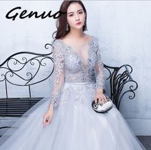 Genuo New Three Quarter Illusion Backless Lace Up Flowers Elegant cute Dress Floor Length Party Gown party dresses