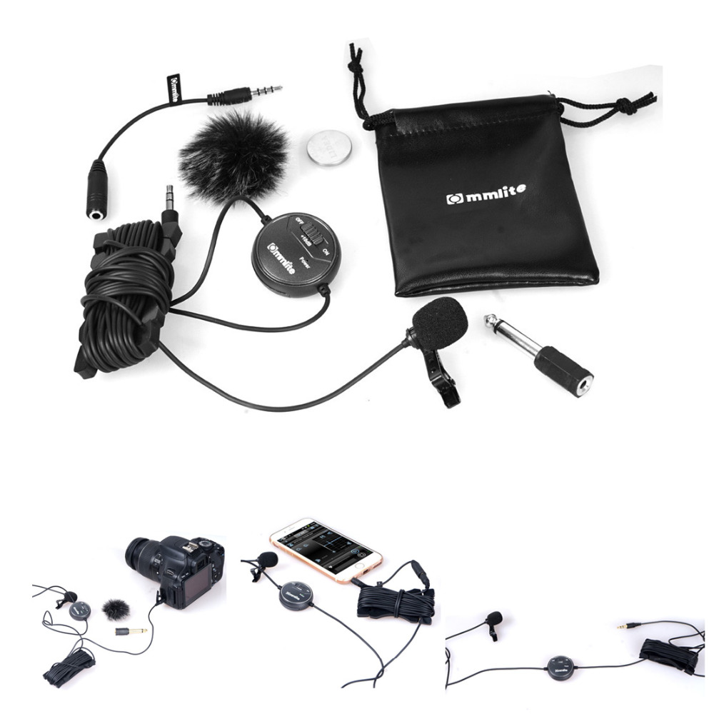 Commlite CVM V03CP CoMica dB Adjusting Lavalier Microphone Clip on Omnidirectional Condenser Mic for Camera Camcorder