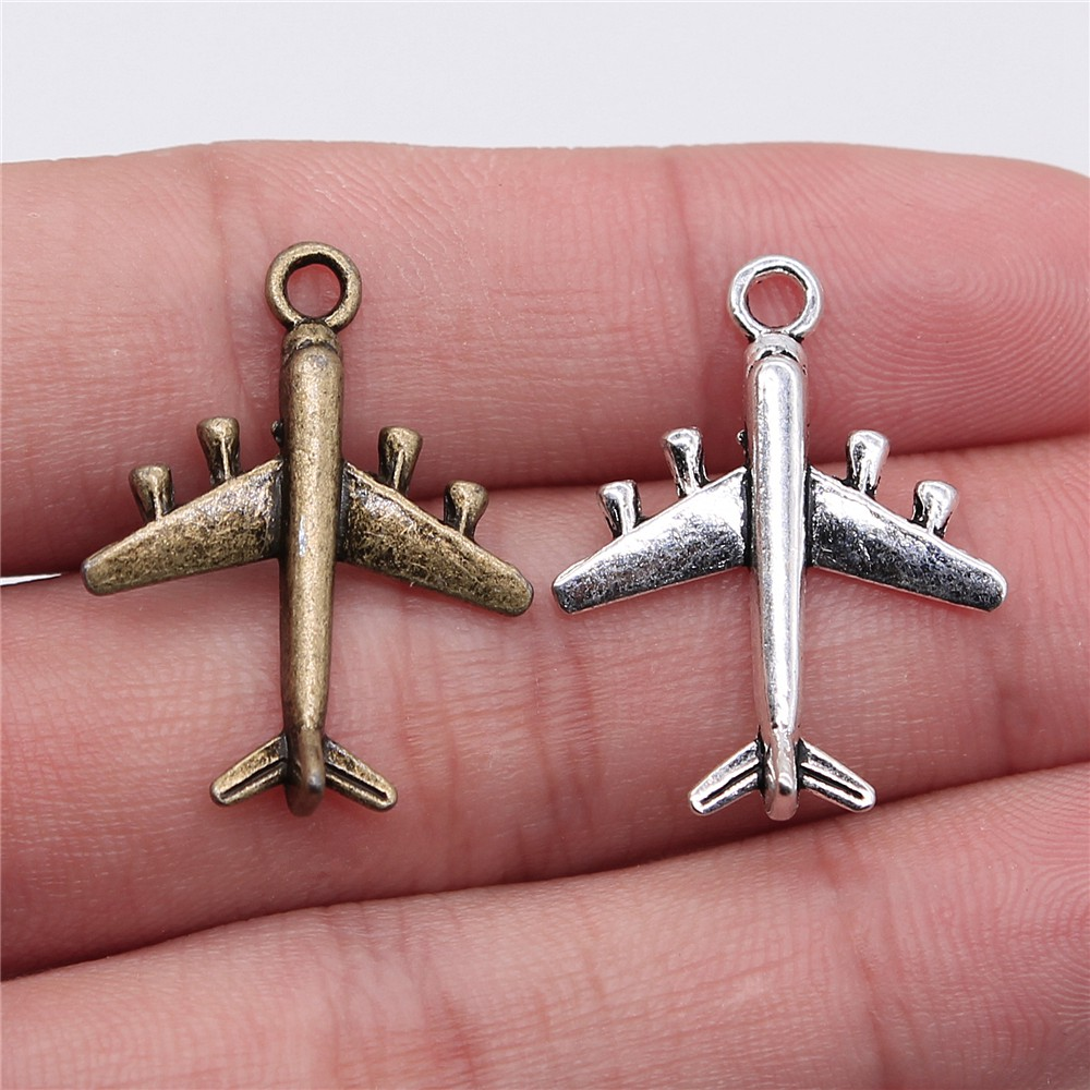 WYSIWYG 10pcs 27x21mm Airplane Fighter Charm Pendants For Jewelry Making Antique Silver Color Aircraft Pendants Charm Aircraft image