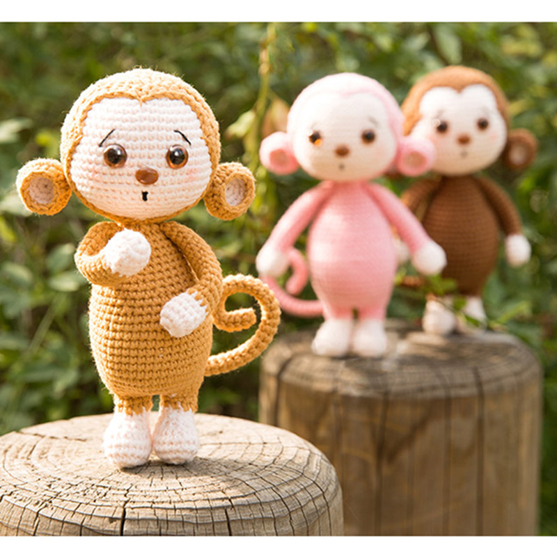 1pieces Naive And Lovely Monkey Doll Woolen Hook Weave Hand-made Crochet Doll Toys