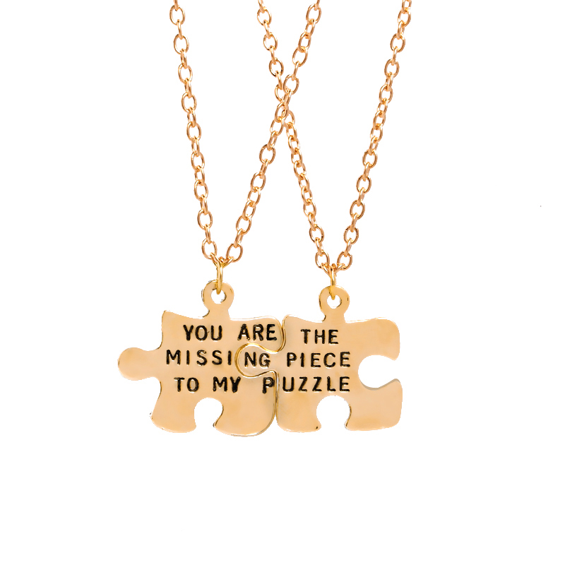 You Are The Missing Piece To My Puzzle Necklaces Jigsaw Puzzle BFF Necklaces For Best Friend couple Necklaces Pendants gift love image