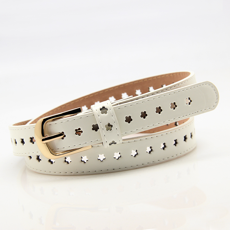 Cutout Decoration Thin Belt Women's Japanned Leather Pin Buckle Women's Small Strap White Belt