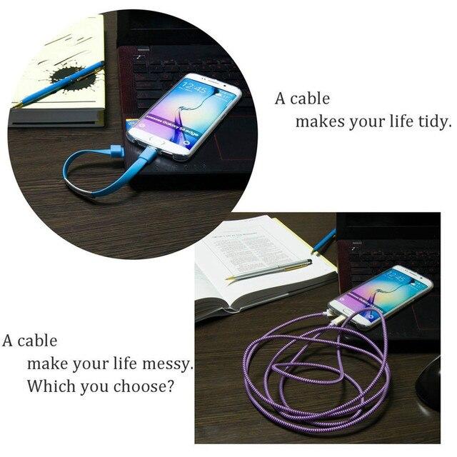 Pulsera popular Micro USB Cable de alambre sincronizar datos del Cable del cargador de USB tipo C para iPhone 5 y 5s 6 6s 7 7 Plus X para Samsung S6 S7 Xiaomi