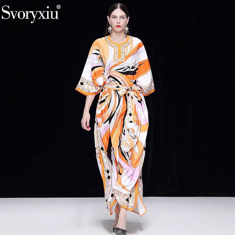 Svoryxiu Designer Autumn Winter Maxi Long Dress Women s Fashion Orange Geometric Printed Robe Loose Big