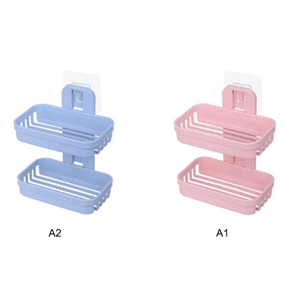 1pc Double Layers Soap Box Kitchen Tools Bathroom Accessories Soap Dish Suction Holder Storage Basket Soap Box Stand