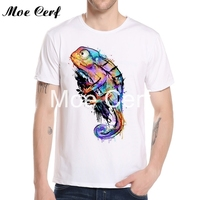 Ink Watercolor Fish Cattle Bull Chameleon Bird Print T Shirt Men Slim Fit T Shirt High