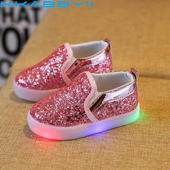 Princess Spring Shoes Children's Casual LED Shoes Kid's Keep Soft Shiny Skin Shoes Girls Glowing Fashion Boot