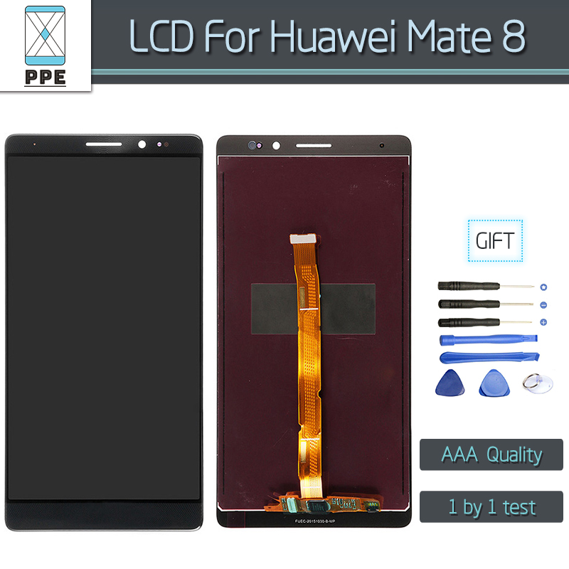 LCD Display For Huawei Mate 8 LCD Display with Touch screen Digitizer Assembly Replacement pantalla black white gold+Tools