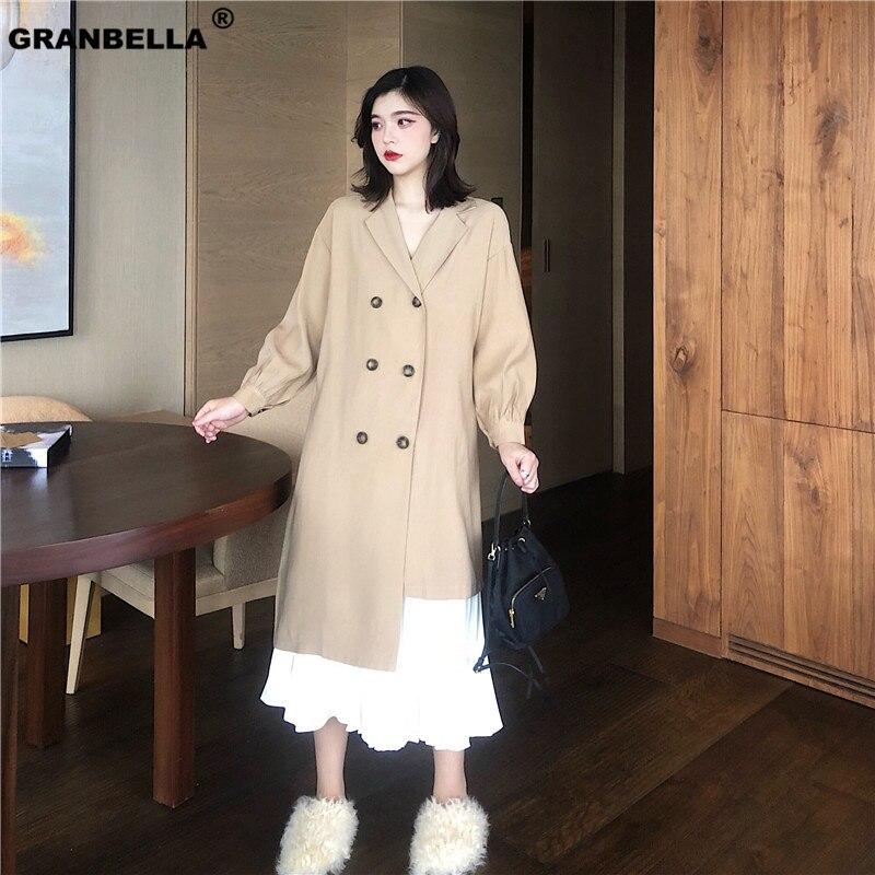 Spring Summer Thin Shirt Style Irregular Trench For Women Long Retro Khaki Trench Coats Brief Overcoats