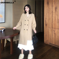 Spring Summer Thin Shirt Style Irregular Trench For Women Long Retro Khaki Trench Coats Brief Overcoats