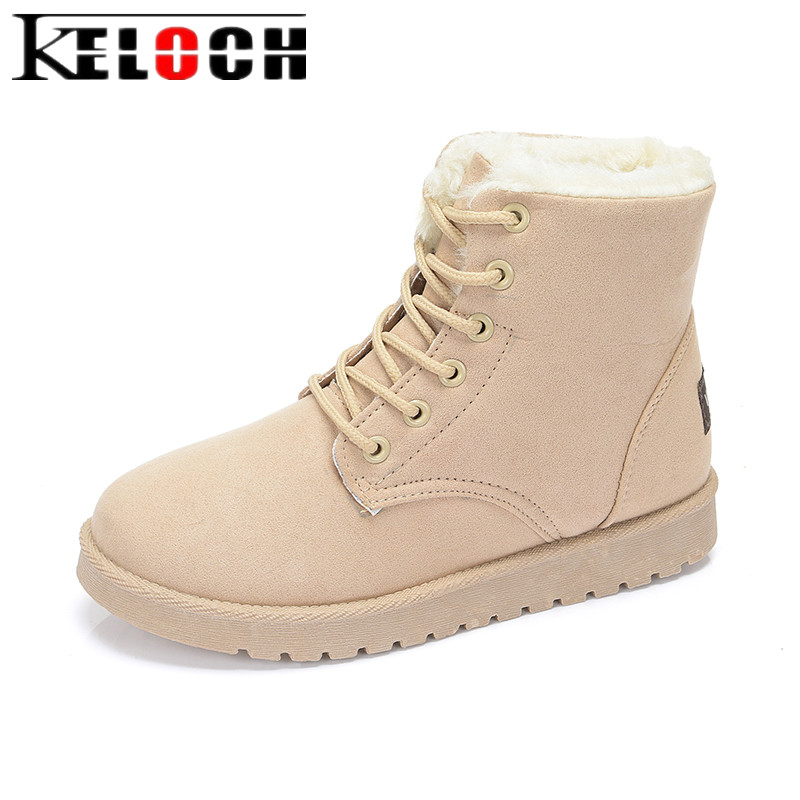 Keloch Classic Women Winter Boots Suede Ankle Snow Boots Girls Hith Qualitty Plush Insole Warm Winter Shoes Botas Mujer 2017 new fashion women winter boots classic suede ankle snow boots female warm fur plush insole high quality botas mujer lace up