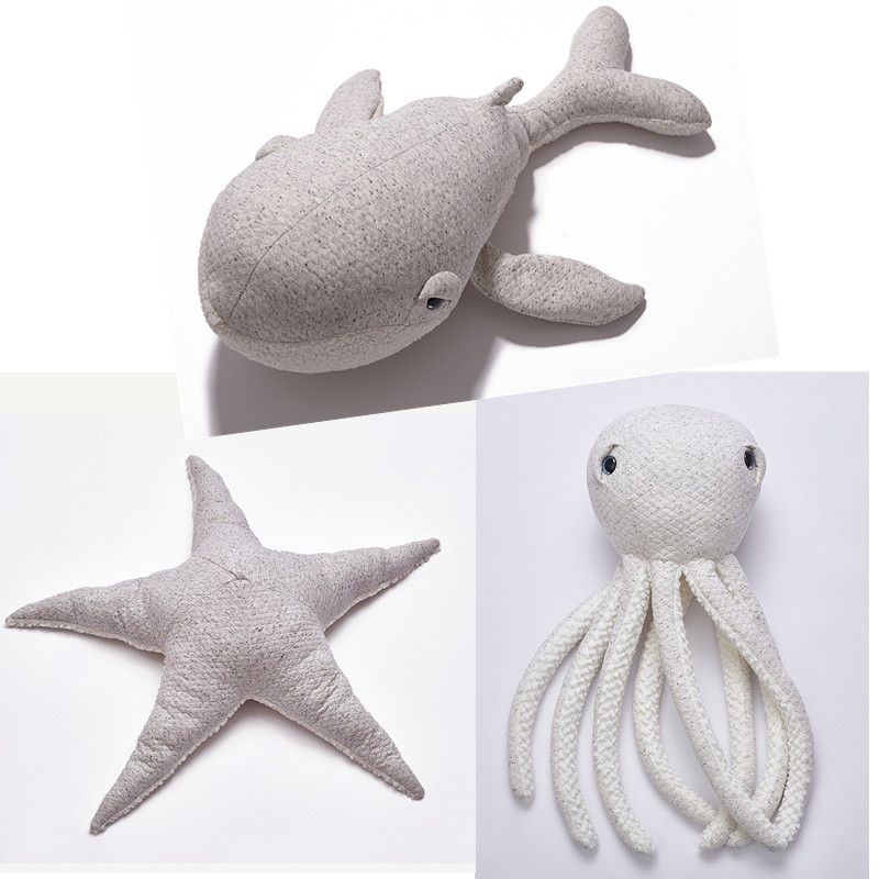 Plush Toys White Whale Octopus Starfish Stuffed Animal Pillow Doll Hot Styles Plush Stuffed Toys For Kids Baby Toys Gift INS