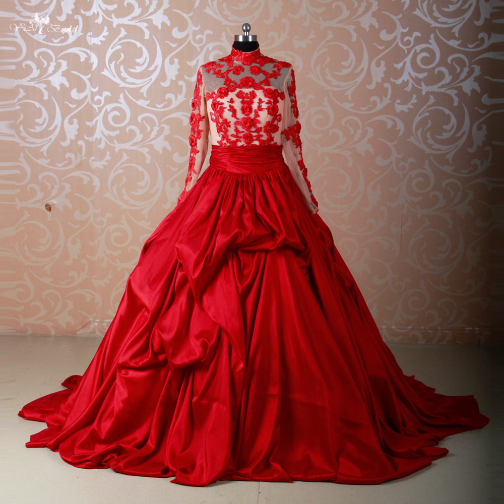 Wedding Gowns With Red: RSW578 Long Sleeve Muslim Red Wedding Dresses Ball Gowns