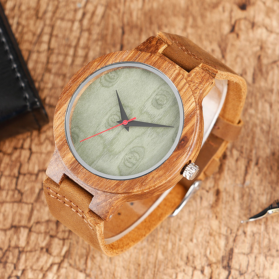 Creative Wood Watch Male Wristwatches Wooden Clock Men's Bamboo Leather Wood Watches Gift relogio de madeira (7)