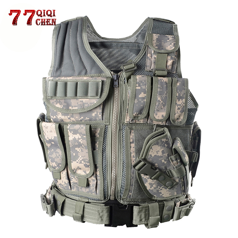 Unloading Tactical Mens Combat Vest Tactical Army Military Fans Camouflage Vest Body Cs Jungle Equipment