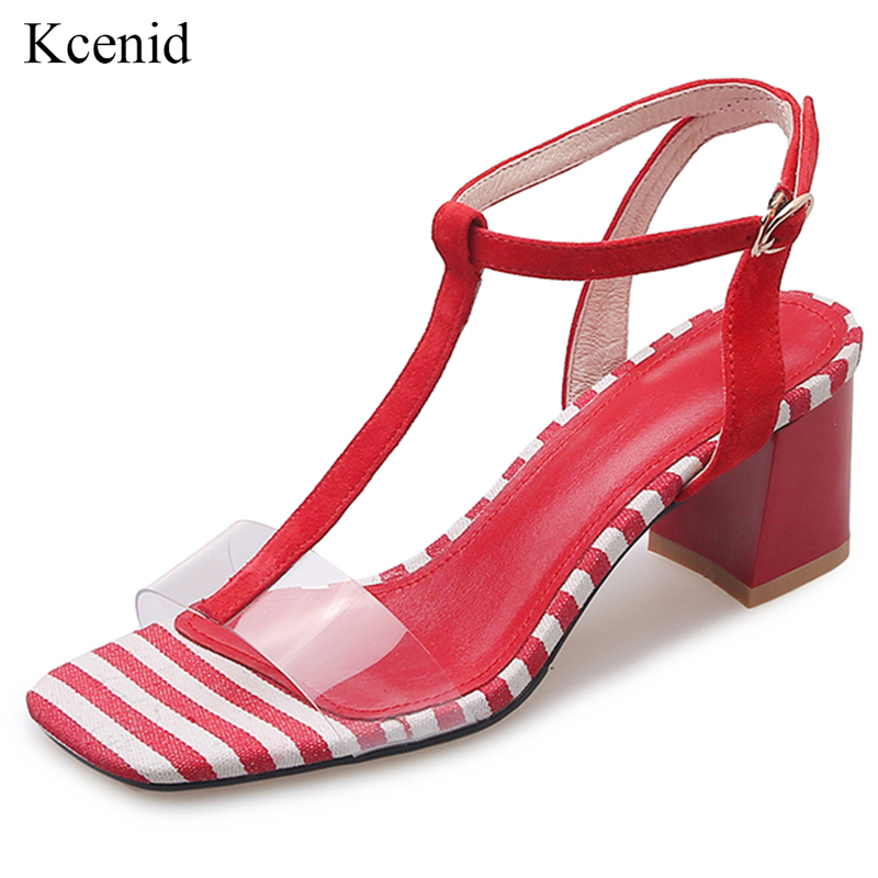 Kcenid Suede T strap transparent pvc dress sandals women bohemia style high heels gingham shoes summer