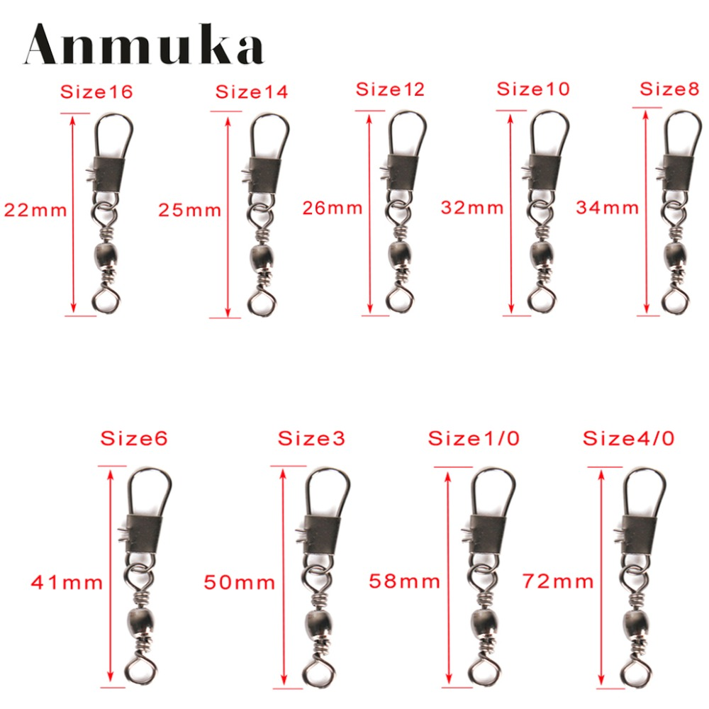 Anmuka steel interlock snap fishing lure tackle 9 sizes for Fishing swivels size chart